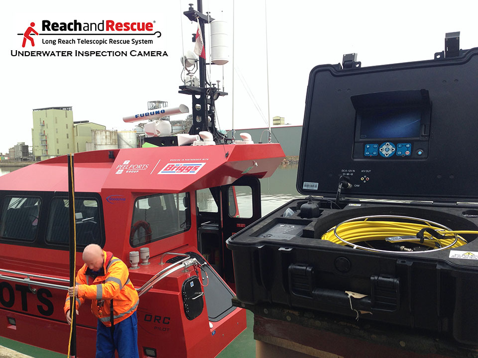 An image displaying the use of an underwater inspection camera to inspect the hull of a boat