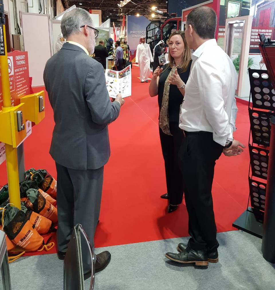 Reach and Rescue Directors' Jo and Sean with Discuss Water Rescue Equipment at Intersec 2019