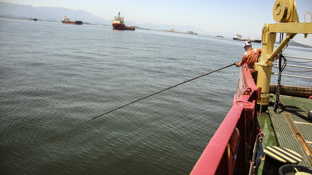 Rescue Pole Use with Offshore Oil Tanker