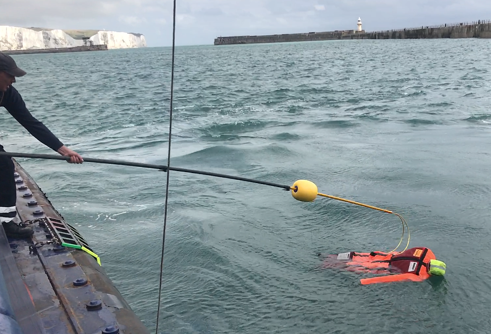 Rescue Pole Used for Man Overboard Body Recovery Safety Drill in Port