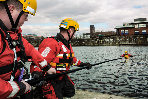 Merseyside Fire and Rescue Service Deploy Reach and Rescue Telescopic Rescue Pole in Training Demonstration