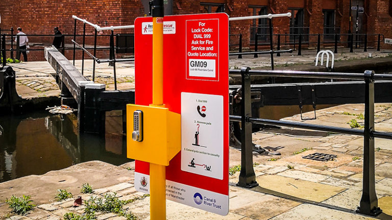 Portsafe with Rescue Pole at Lock 89 of Rochdale Canal in Manchester