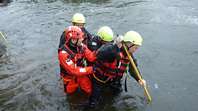 Wading Pole being used by Belgian Firefighters during Swift Water Rescue Training