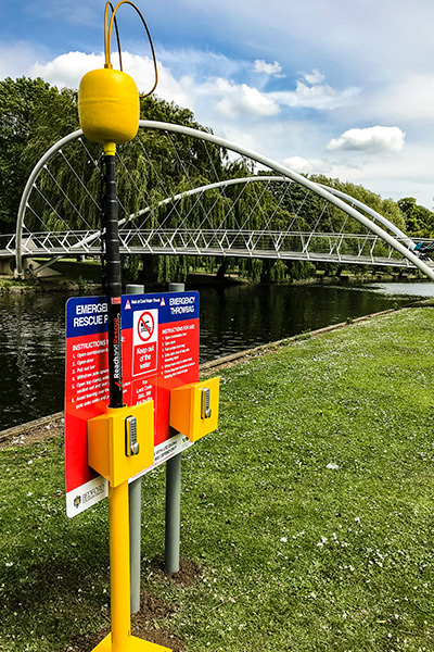 Portsafe with Rescue Pole Along the Embankment