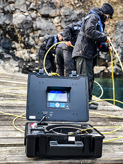 Inspection Camera being used in a Marina by Police
