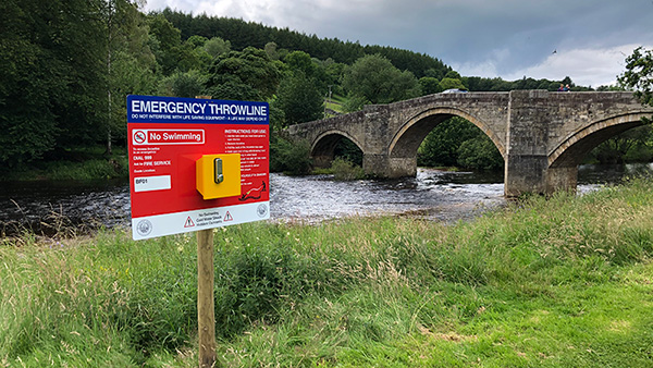 Portsafe with Emergency Throwline alongside River at Bolton Abbey in Yorkshire
