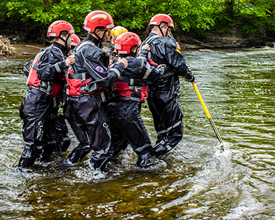 Flood Rescue Team Training in River with Reach and Rescue Wading Pole