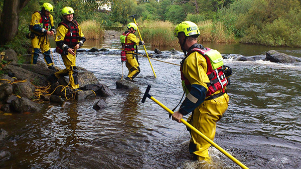 Water Rescue Team with Wading Pole in River