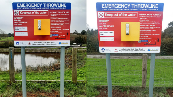 Image of two Portsafes with Emergency Throwlines installed at Hurleston Reservoir in Cheshire