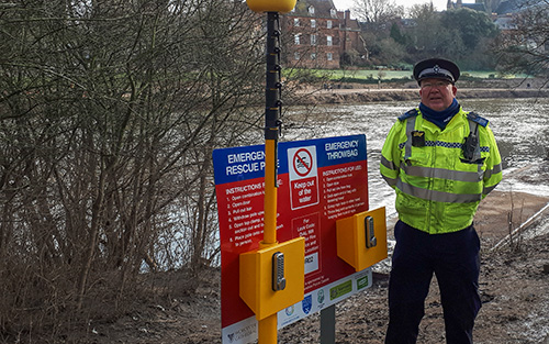 Police Officer Next to Portsafe Installed Alongside River Severn in Worcester